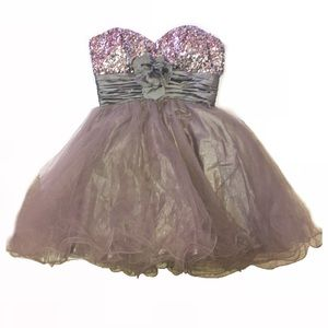 Silver sequins fluffy party dress. Size small